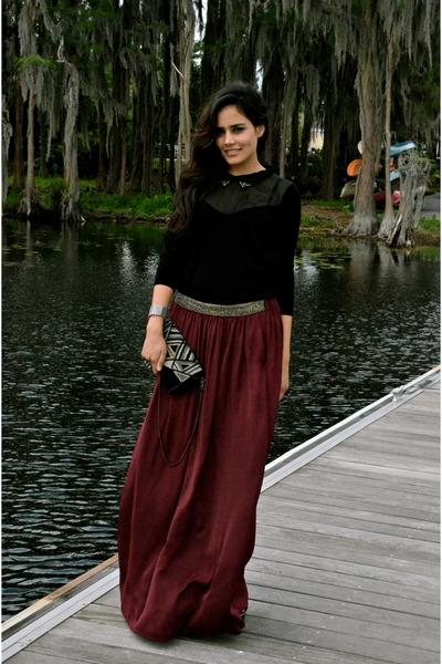 crimson Zara skirt - black Kookai sweater