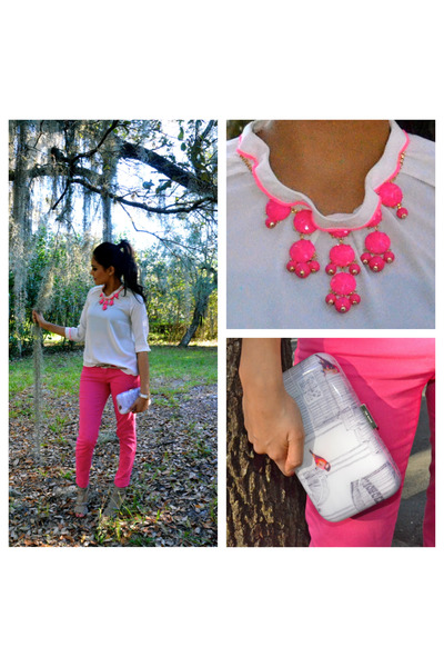 J Crew necklace - pink jeans American Eagle jeans - hardshell bag ted baker bag