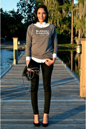 black Zara jeans - charcoal gray Le Motto sweater - white The Kooples shirt