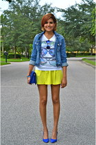 white Galeano t-shirt - sky blue Zara jacket - blue Juicy Couture heels