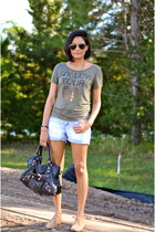 black balenciaga bag - gold Urban Outfitters necklace - army green Zara t-shirt