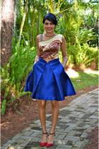 blue PAPER London skirt - ruby red Zara heels