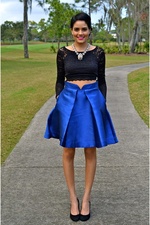 blue PAPER London skirt - black Express top - beige J Crew necklace