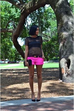 hot pink American Eagle shorts - black SILK New York top