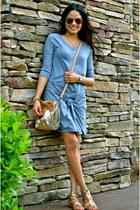 bronze BCBG bag - heather gray MINUSEY dress - tawny BCBG flats