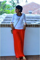 red Zara pants - white Zara shirt - light orange Zara necklace