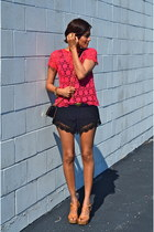 black Mango bag - black Forever 21 shorts - red Sinéquanone top