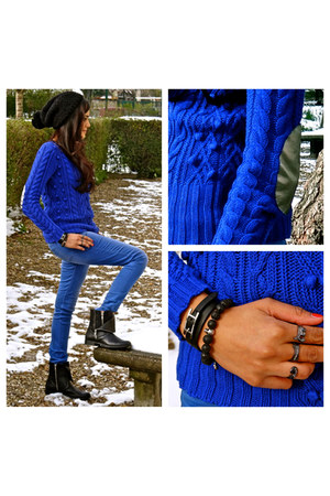 blue Kookai sweater - black andr boots - black Hermes bracelet