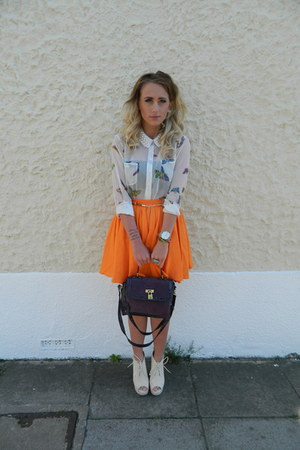 River Island skirt - Matalan bag - Boohoocom wedges - Boohoocom necklace