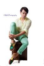 aquamarine Topman pants - chartreuse Zara shirt