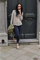 blue Zara jeans - olive green Zara jacket - beige Zara blouse