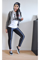 black American Apparel leggings - heather gray H&M hoodie