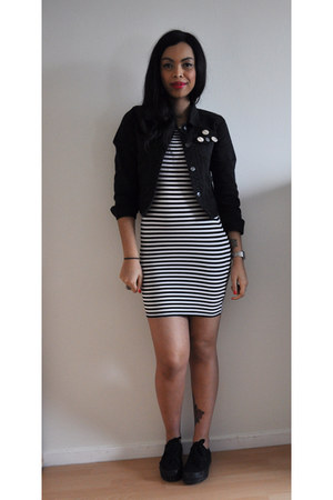 black Forever 221 jacket - white Forever 21 dress - black Topshop sneakers