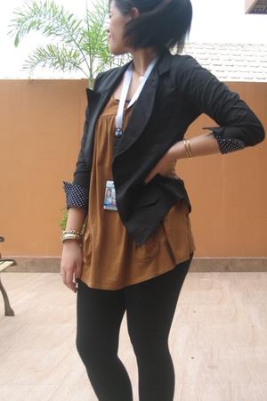 Zara top - Pink Manila blazer - department store leggings - Anne Klein Agatha ac