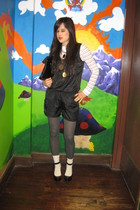 black Charlotte Russe suit - white vintage shirt - gray Betsey Johnson stockings