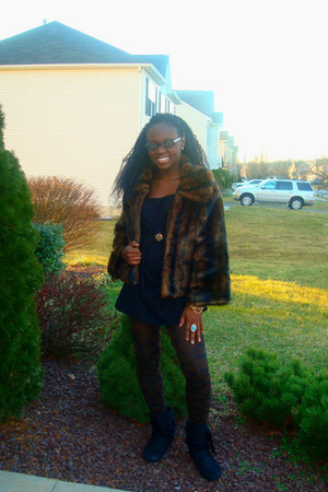 brown Cejon coat - black PowWow dress - brown TJ Maxx tights - black Cutsey Girl