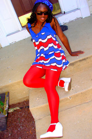 blue Lux dress - red Walmart stockings - white Dollhouse shoes
