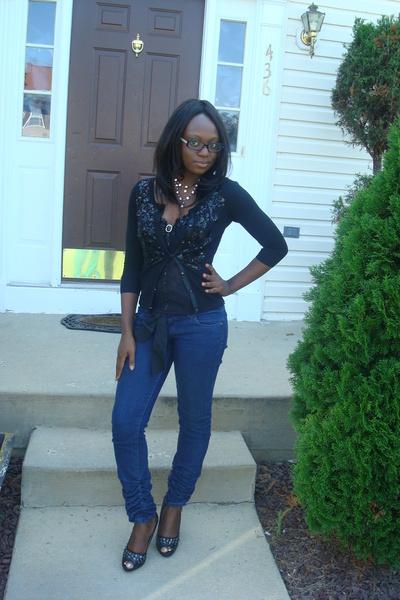 black White House Black Market sweater - blue Walmart jeans - black fredricks of