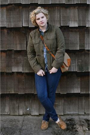 bronze sperry shoes - navy Levis jeans - army green J Crew jacket - blue Merona