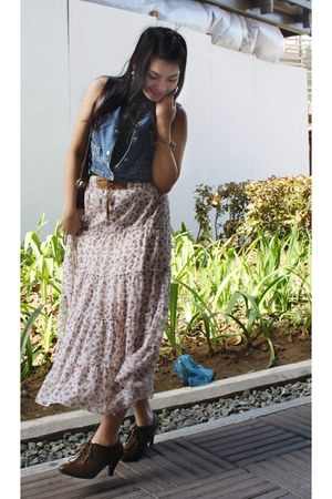 maxi skirt - denim vest