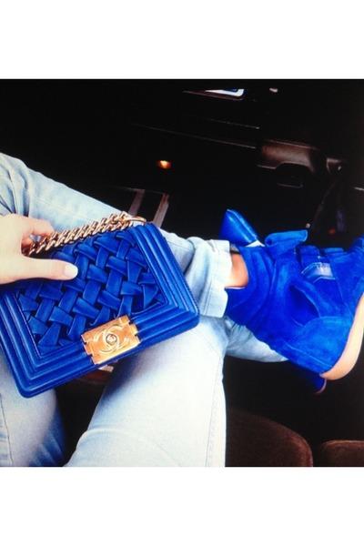 blue bag - blue sneakers