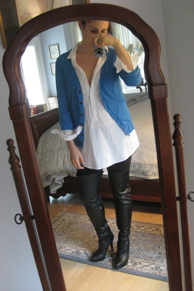 Gap cardigan - JCrew blouse - Urban Outfitters leggings - Aldo boots
