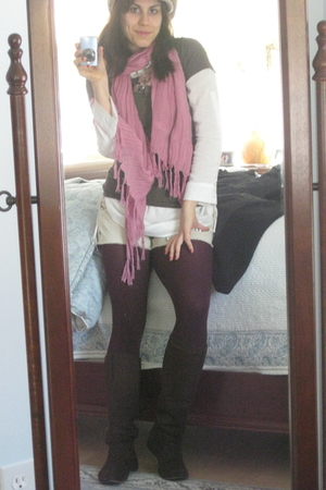 hat - Love Quotes scarf - JCrew shirt - Forever 21 blouse - Gap tights - Wanted