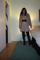H&M coat - JCrew cardigan - H&M dress - Urban Outfitters belt - Aldo boots - Col