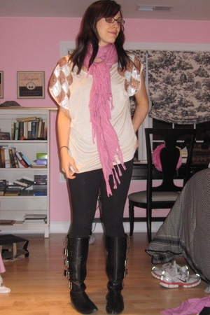 H&M shirt - Love Quotes scarf - BDG leggings - michael antonio boots