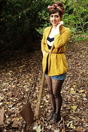 yellow Urban Outfitters cardigan - dark brown Urban Outfitters boots