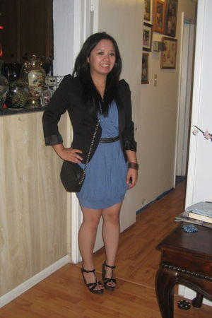 Forever 21 dress - steve madden hand-me-downs shoes - H&M blazer