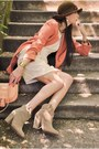 Beige-ankle-boots-zara-boots-ivory-alyssa-nicole-dress