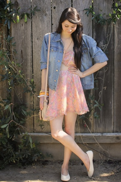 pink Alyssa Nicole dress - light blue vintage denim calvin klein jacket