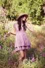 Light-purple-alyssa-nicole-dress-beige-straw-hat-vintage-hat
