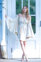 off white bell sleeve Alyssa Nicole dress - gold chain Alyssa Nicole necklace