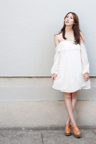 white Alyssa Nicole dress - tawny Jeffrey Campbell clogs