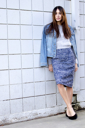 navy pencil skirt Alyssa Nicole skirt - blue denim calvin klein jacket
