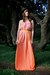 mustard velvet Alyssa Nicole belt - orange chiffon maxi Alyssa Nicole dress