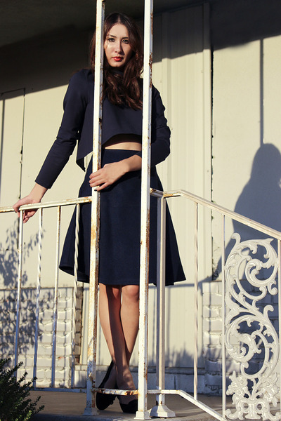 navy Alyssa Nicole top - navy wool aline Alyssa Nicole skirt