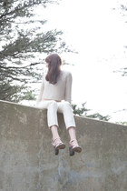 tan cropped Urban Outfitters sweater - tan explore Freda Salvador wedges