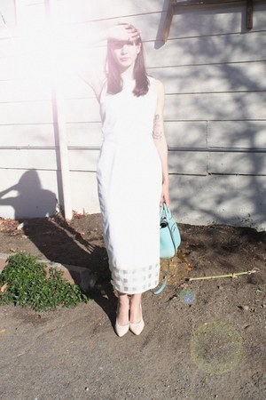 white Alyssa Nicole dress - sky blue shoulder bag kate spade bag