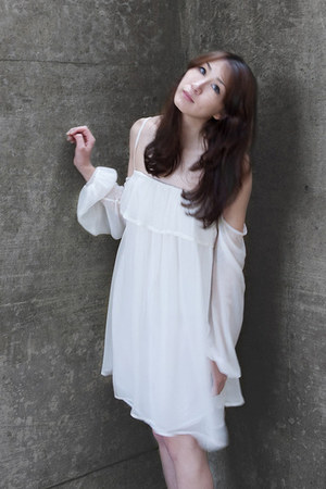 white Alyssa Nicole dress - tan Freda Salvador wedges