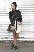 black motorcycle Nasty Gal jacket - eggshell Alyssa Nicole dress