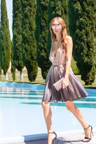 silver ombre Alyssa Nicole dress - dark brown brown Fendi bag