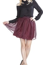 Oxblood Pleated Skirt