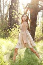 tan silk slip dress Alyssa Nicole dress - camel Zara sandals