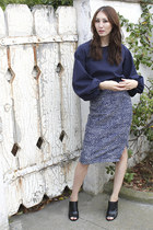 navy pencil skirt Alyssa Nicole skirt - navy bell sleeve Alyssa Nicole blouse