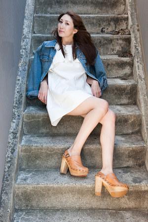blue calvin klein jacket - white Alyssa Nicole dress