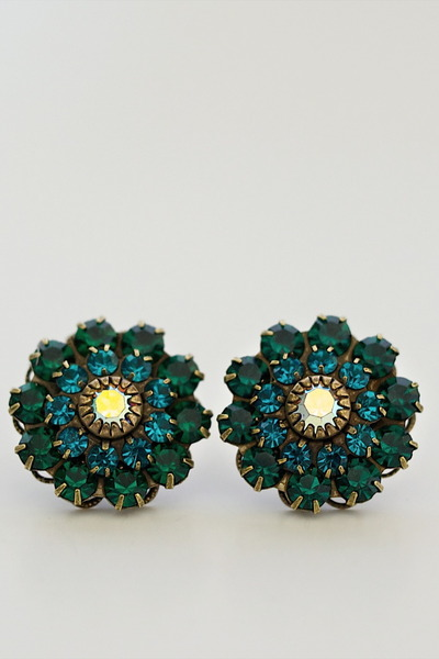 teal blue flower gem Alyssa Nicole earrings