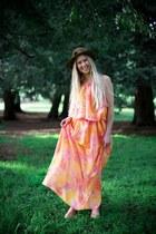 orange Alyssa Nicole dress - dark brown wool thrifted vintage hat